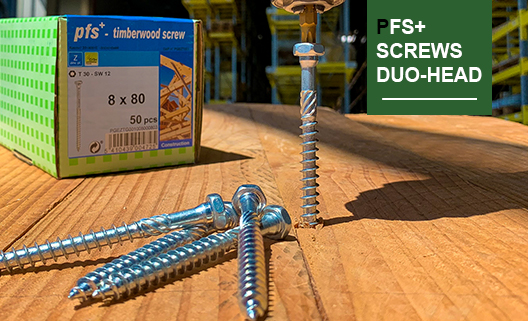 Wood construction screw DUO head